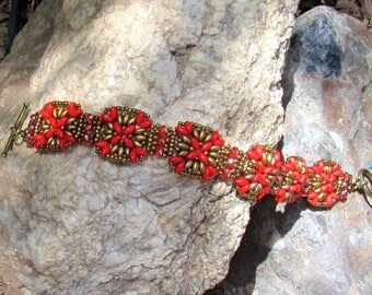 Red and gold beaded Mayaband