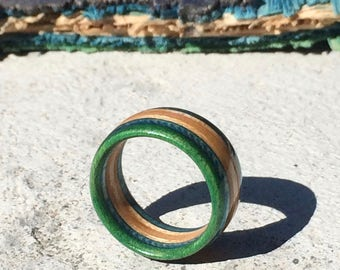 Recycled Skateboard Ring | Custom-fit Wooden Ring Handmade in Canada