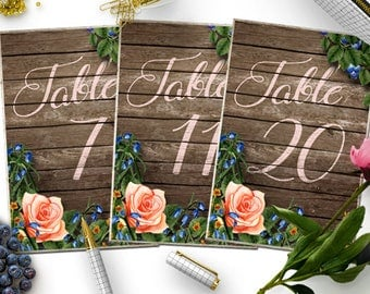 Wedding Table Numbers 1-20, Printable Table Numbers, Rustic Table Number, Flower Table Numbers, Wedding Printable, Wedding Table Sign