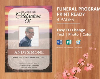 Funeral Template, Memorial Program, Obituary Program template | Editable Microsoft Word, Publisher & Mac Page | Instant Download - EF09