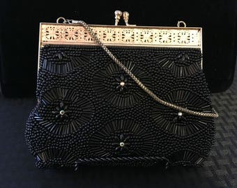Vintage 50/60's Evening Black Beaded W/Aurora Rhinestone Purse ~ Gold Filligree Frame & Clasp ~ Gold Drop Chain Strap