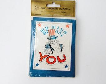 "Vintage ""We Want You"" Party Invitations/Vintage Invitations/Vintage Patriotic Invitations/Fourth Of July/Paper Ephemera/Scrapbooking Supply"