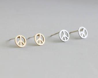 Peace Earrings / peace symbol, world peace earrings, minimalist, pacifist / E0-07