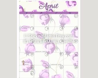 APRIL CALENDAR C104, Digital Download, Planning Stickers, Stickers, Planner Stickers, Planner Weekly, Hourly Planner, Hourly Planner,