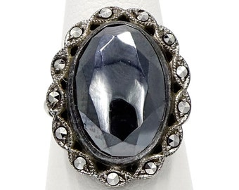 Art Deco Sterling Hematite And Marcasite Ring