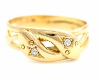 18ct Gold Victorian Snake Ring Diamond Double Snake Ring- Circa 1852