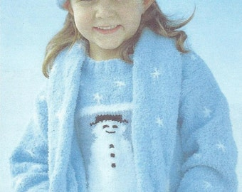 Baby / Childrens CHRISTMAS Sweater Scarf & Hat Knitting Pattern 6 Months TO 10 Years.