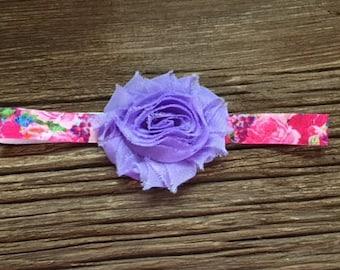 Lavendar shabby flower headband, newborn headband, photo prop, flower headband, baby gift