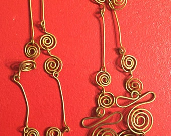 Coiled Wire Necklace Wire Wrapped brass Pendant 17 inches Antique Gold Color Handmade Jewelry