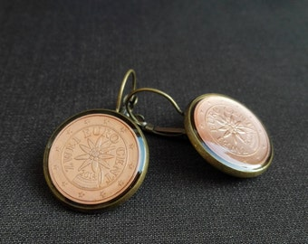 Coin earrings  Jewelry Earrings Fashion Austria Coin jewelry Metalworks Euro Gifts women Resin Greetings from Austria Edelweiss