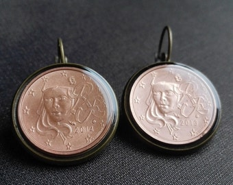 Resin Coin earrings Handcrafted Jewelry Earrings Fashion France Coin jewelry Metalworks Euro Gifts women Christmas gift Greetings from Paris