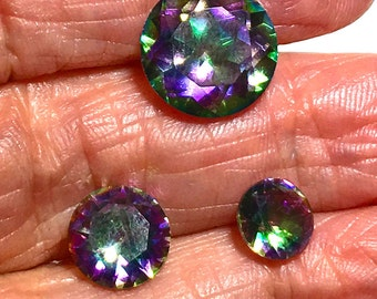 Mystic Topaz  faceted 12mm round