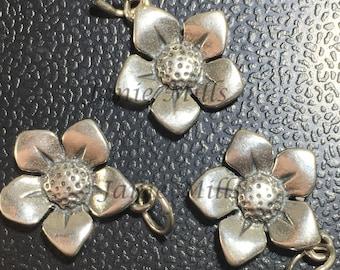 Sterling Flower charm 15mm