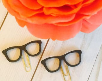 Black Glasses Planner Clip ~ Black Glasses Page Clip ~ Bookmark ~ Page Marker