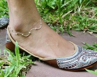 Silver Anklet, Pretty Anklet, Bohemian Anklet, Minimalist Silver Anklet, Simple Anklet, Bridal Anklet, Feet Bracelet,Anklet, Gift, (AS61)