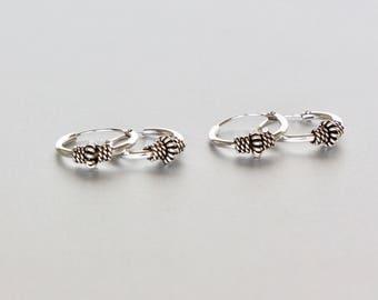 Simple Silver Ear Hoops, Oxidized Silver Hoop, Gift Earrings,Body Jewelry, 12mm Bohemian Hoops, Minimal Earrings, Casual Hoops, (E50)