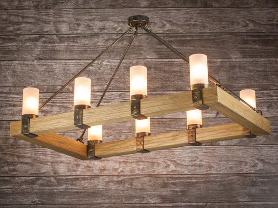 Rustic Chandelier Light Wood Rectangle Candles Ropes Fittings