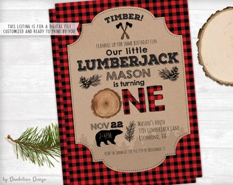 Lumberjack First Birthday Invitation and Thank You Card Printable