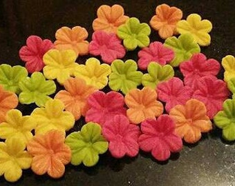 30 Edible Sugar Paste Fondant Bright Petunia Flowers Birthday Wedding Anniversary Party Cake Cupcake Toppers