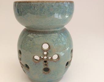 Handmade Essential Oil Burner, soy/wax melts, candle holder, stoneware, blue/turquoise/bronze glaze, studio pottery, Artisan, IN STOCK