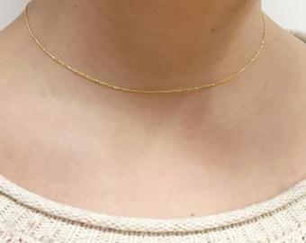 "14K Fine Gold Sparkle Chain Necklace, Choker Styling, Adjustable 14.5/16"" Sparkle Chain, Delicate, Chain Necklace, BrookeMicheleDesigns"
