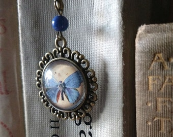 Blue Butterfly brass book hook bookmark with dangling glass cabochon accent
