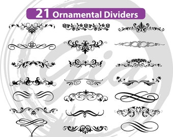 Ornamental Dividers SVG, decorative elements svg, wedding invitation scrolls svg, ready to cut files, also in png, eps & DXF