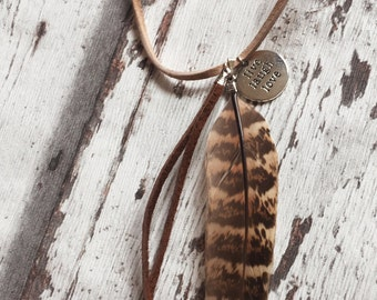 Boho leather necklace, coin, Gypsy Bohochic, Boho Accessories, Love, live, laugh