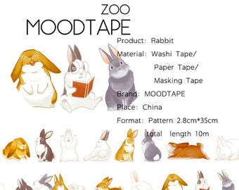 Animal Washi Tape Rabbit,scrapbooking stickers,DiY,Paper Decorative masking Tape