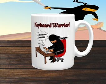 Funny Mug 'KEYBOARD WARRIOR. You Do Not Want None Of This, I know Karate' Coffee Mug, Coffee Cup, Ceramic Mug, Boxing Mug