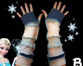 Arm Warmers Frozen Inspired Made From Recycled Sweaters, Gloves