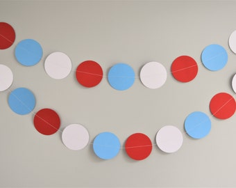 Blue Red White Garland, Baby Shower Decorations, Time Flies Baby Shower, Up Up and Away Baby Shower, Boy Birthday Party Decorations, Garland