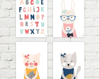 Set of 4 graphics - alphabet, cat, rabbit and a pig. Nursery wall decoration. Printable and instant downloadable.