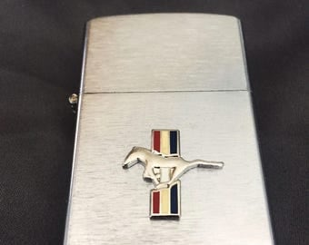 Ford Mustang Brushed Chrome Windproof Lighter