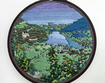 """Hand Embroidery, Fiber Art, Wall Hanging, 6 inch Embroidery Hoop, """"Driving through Central Switzerland"""""""