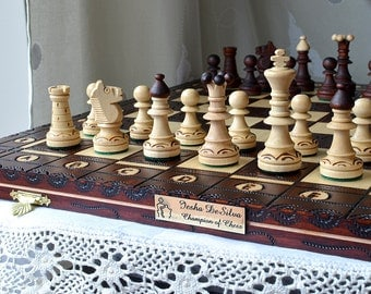"""Personalized 16""""/40cm Ornamented Chess Set; All carved by hand - Medium Chess Set - Beautiful gift for birthday - Personalization for FREE"""