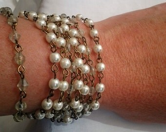 HALF PRICE - Freshwater Pearls 9ct Gold Plated over Sterling Silver Bracelet  - 8 Strands - Wedding - Bride Accessory