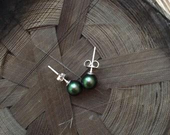 Green Pearl Sterling Silver Earrings 6mm