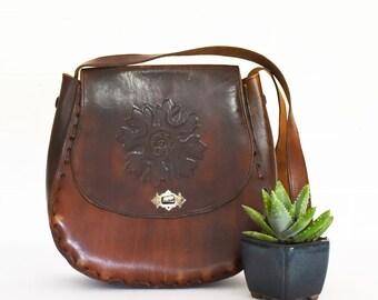 Vintage Tooled Leather bag - Boho - Style - 70's Era
