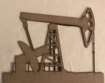 Pump Jack, Oil and Gas, Work, Industry, Black Gold, Texas Tea, Scrapbook, Journal, Mixed Media, Embellishment, ChipBoard, 1 Piece, Oil Patch