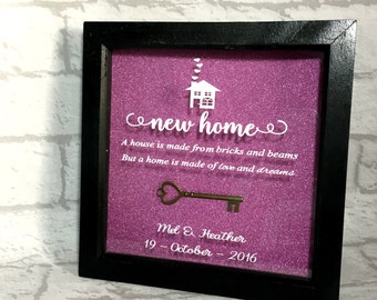 New Home Gift, Personalised New Home Gift, New Home Present, New House Frame, Box Frame, Gift for Couple, Wedding Gift, New Home Box Frame.