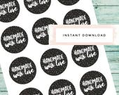 Handmade With Love,Printable Stickers, Polka Dot Stickers,Business Stickers,Business Packaging Stickers,Instant Download Stickers,Gift Tags