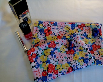 Retro Style Floral Cotton Pair of Zippered Pouches, Make up Bags