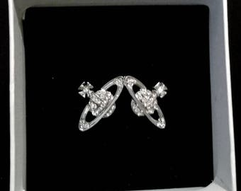 Vivienne Westwood Bas relief orb Silver earrings + bag and box