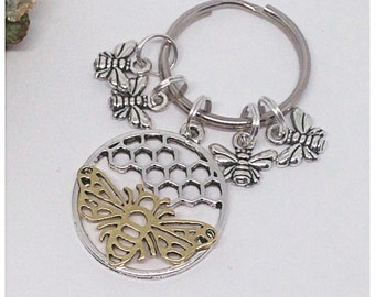Bee Keyring, Silver Bees Keyring, Gold Bee Keyring, Bee Keychain, Bee Bagcharm, Ella Rose, Nature, Bees, Honey Bee, Bumble Bee,
