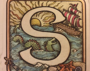 Letter S with ship and serpent, etching print, fantasy art