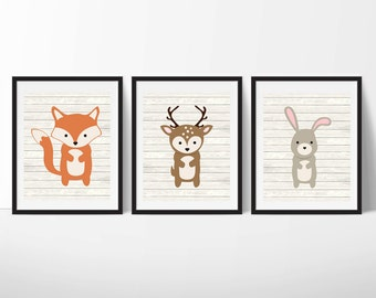 Woodland Animals Printable Nursery Art, Forest Animals Nursery Decor, Woodland Wall Art, Nursery Wall Art, Set of 3, Instant Download