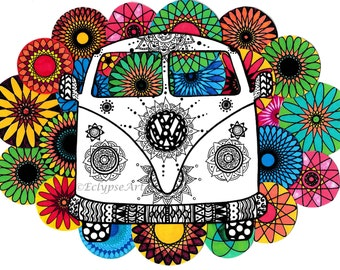 A4 Artwork Print - Spirograph VW Camper