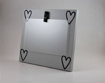 gray picture frame  black heart picture frame 4 x 6 picture frame clip picture frame photo holder custom picture frame wood picture frame
