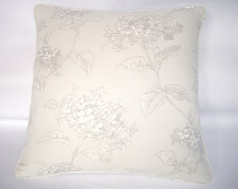 Grey hydrangea floral cushion cover in fashionable soft grey colours. 18ins x 18ins.